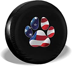Spare Tire Cover, American Flag Dog Paw Print Printing Wheel Protectors PVC Waterproof Dustproof for Jeep Trailer SUV Rv and Many Vehicles(14,15,16,17 Inch)
