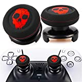 Playrealm FPS Thumbstick Extender & Printing Rubber Silicone Grip Cover 2 Sets for PS5 Dualsenese & PS4 Controller (Ghost Red)