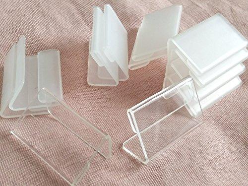 RUIXUAN - Set di 30 mini supporti in acrilico trasparente, a forma di L, dimensioni 4x 2cm, per esporre biglietti, targhette ed etichette