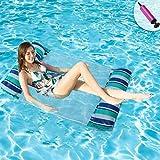 Hamaca Flotante Adultos Hamaca Hinchable Para Piscina Hamaca de Agua Inflable Flotador Juguete Para Niños Con Inflador(azul y verde)