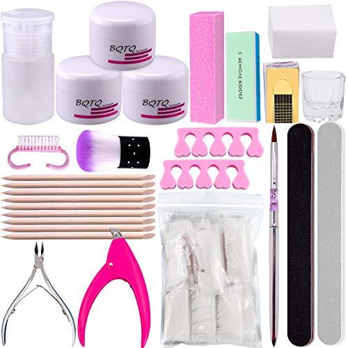 BQTQ Acryl Nagelset 3 Farben Acrylpulver für Nägel Weiss Pink Klar, Falsche Nagelspitzen, Nagelknipse Acryl Farbpulver für Nägel, Acryl Nail Art Kit für Nägel Dekoration