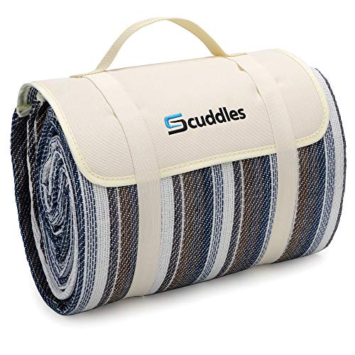 Picnic Outdoor Blanket Park Blanket Beach Mat for Camping on Grass Oversized Seats Adults Water Resistant Picnic Mat (52x 57 Large Pearl Blue CM06)