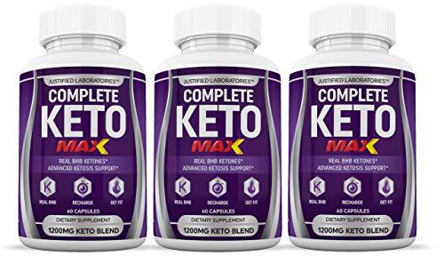 Complete Keto Max 1200MG Keto Pills Advanced Ketogenic Supplement Real Exogenous Ketones Ketosis for Men Women 60 Capsules 3 Bottles