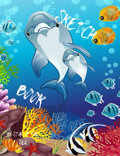 Sketch Book: Cool Sketch Book For Kids Or Adults! Underwater Scene, Great Summer Birthday Party favor Gift!