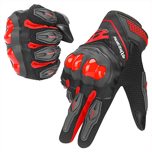kemimoto Motorcycle Riding Summer Gloves Men Women, Moto Dirt Bike Touchscreen Motocross Bicycle Motorcycling Gloves Outdoor Driving ATV Off-Road Hard Knuckle Powersports Breathable Gloves (Red, L)
