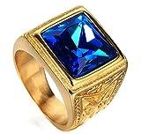 Ueice 24 Karat Gold Überzogen Herren Rot Saphir Rubin Blau Edelstein Retro Rostfreier Stahl Ringe,Blau,Größe 62 (19.7)