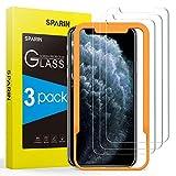 SPARIN Protector de Pantalla Compatible con iPhone 11 Pro MAX/XS MAX, Cristal Templado con Marco de Alineación, Alta Definición, 3 Piezas