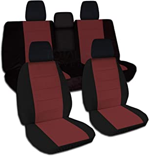 Totally Covers compatible with 2018-2020 Jeep Wrangler JL Two-Tone Seat Covers: Black & Burgundy - Full Set: Front & Rear ...