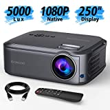 GuDee Native 1080P Full HD Video Projector, 250' Display 6200Lux LCD Projector for Home & Business Presentation, Compatible with PC, Laptop, Tablet, TV Box, PS 3/4, HDMI, VGA, USB, DVD, Gray
