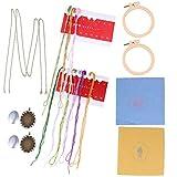 EXCEART 2 Set Kit de Inicio de Bordado Placa Floral Bordado Herramienta de Principiante Costura Bordada Colgante Collar de Costura a Mano Pendientes con Aros de Bordado Paños Hilos para Manualidade