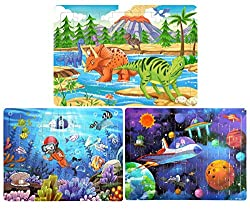 scenic jigsaw puzzles of dinosaurs, outer space, and scuba diving