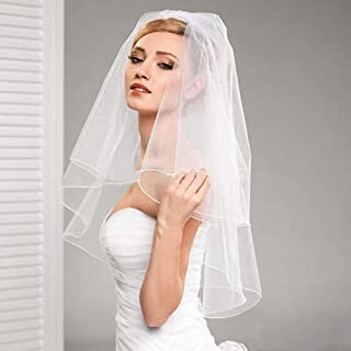 Fangsen Wedding Bridal Veil with Comb 2 Tier Bridal Fingertip veil(Fingertip&Cathedral Length) (White 2T)