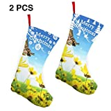 XCNGG Calcetines navideños Calcetines novedosos Beautiful Farm Scenery Christmas Stockings 2 Pcs Set 10 Inch,Personalized Gift Socks Candy Socks,Xmas Party Decor