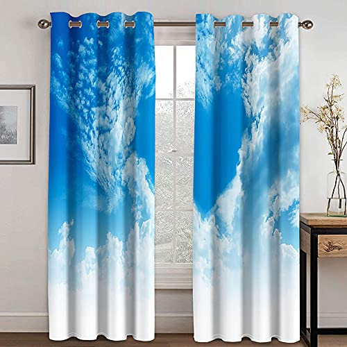 GDYRBY Cortinas Opacas 2 Piezas Cocina - Las Nubes Azules del Cielo Aman Cortina Aislante para Salón Dormitorio Balcón Puerta Y Ventana 280X260cm(WxH) con Ojales