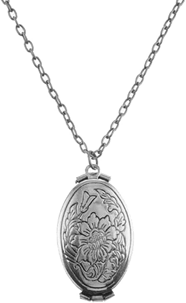 Sojewe Vintage Flower Leaf Pendant Expanding Photo Locket Necklace for Women Girl That Hold 4 Pictures