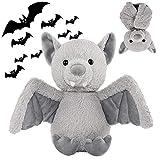 Cuddly 11 inch Plush Bat Stuffed Animal Halloween Stuffed Animal Plush Toy Plush Animal Doll Bedtime Toys Birthday Xmas Furry Gifts for Children Kids Baby Toys (Grey, 11 inch)