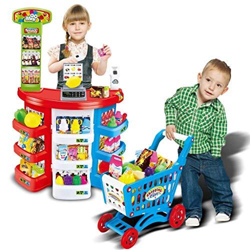 Shopping Grocery Play Store Juego de juguetes, Supermercado para niños Caja registradora Juego de juguetes para disfraces Festival Regalos de cumpleaños para niños con carrito de compras y escáner (mu
