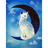 DIY 5D Diamond Painting by Number Kit for Adults, Full Diamond Round Rhinestone Art Embroidery Dotz Kit,Cross Stitch Mosaic Making Arts Craft Canvas for Wall Decor Moon Cats