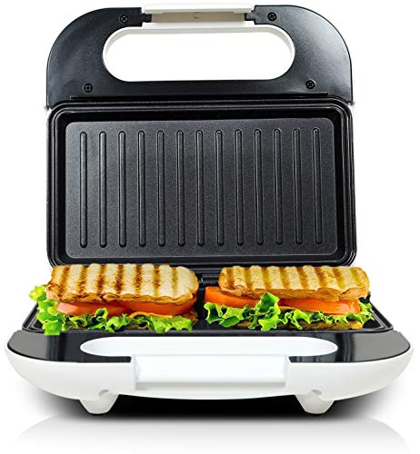 KATTICH Electric Automatic GRILL SANDWICH Maker/Toaster Machine with Fixed Non Stick Plates for Home use 750 W (Silver-White) (Standard)