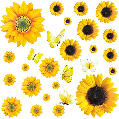 27 Pieces Sunflower Wall Sticker Removable Yellow Flowers Decal Waterproof 3D Floral Butterfly Wall Sticker DIY Decor for Kids Baby Bedroom Living Room Bathroom Nursery Decoration
