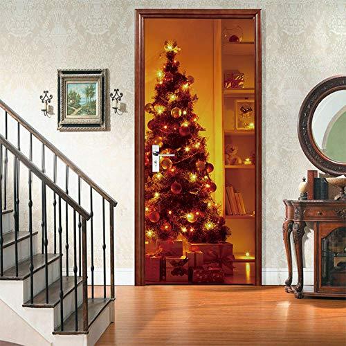APAJSG Pegatinas Puertas Interiores 3D Vinilo Autoadhesivo Adhesivos para puertas Dormitorio decoración del hogar Cartel 77x200 cm árbol de Navidad