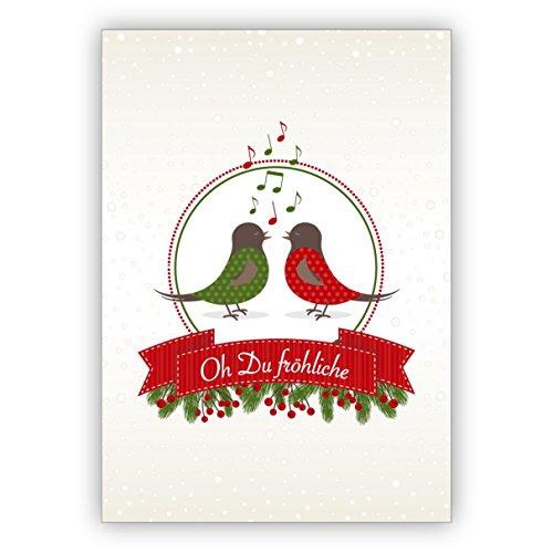 Kartenkaufrausch schattige kerstkaart met zingende vogels (geen geluid): Oh Du vrolijk • als feestelijke wenskaart voor Kerstmis, voor jaarwisseling voor familie en bedrijf
