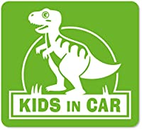 imoninn KIDS in car ステッカー 【マグネットタイプ】 No.71 ティラノサウルスさん (黄緑色)