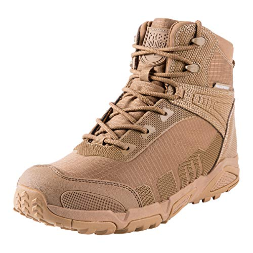 FREE SOLDIER Men's Waterproof Hiking Boots 6 Inches Lightweight Work Boots Military Tactical Boots Durable Combat Boots(Coyote Brown,10)