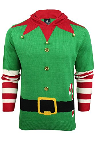 Christmas Jumper 3D Hooded Elf Jacket Style Novelty Xmas Knit Sweater Unisex Vivid, Vivid Green, M