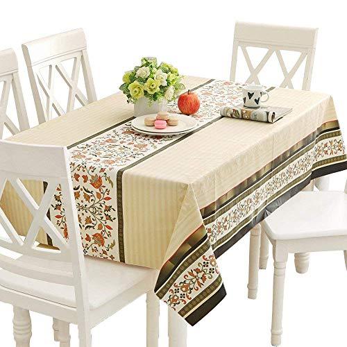 Qualsen Mantel Antimanchas Rectangular Impermeable, PVC, fácil de Limpiar, Manteles Mesa Decorativo para Hogar Comedor del Cocina, Beige,137 x 220 cm