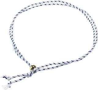 SHUMAIL(シュメール) カラー ストライプ コード アンクレット(メンズサイズ/ホワイト×ブルー) ペアアクセサリー