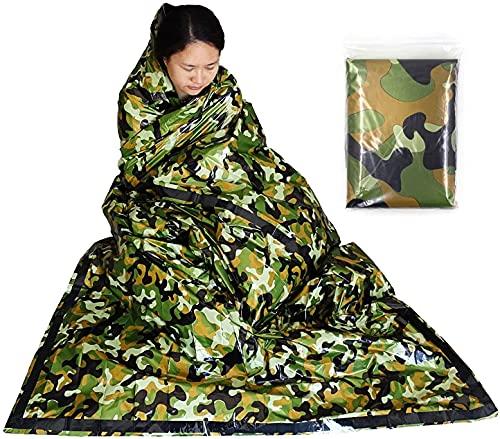 Saco de Emergencia Dormir Aislamiento Térmico Tienda de Refugio de Supervivencia de Prevención de Desastres Ponchos Térmico Manta Impermeable para Acampar Supervivencia Al Aire Libre (Verde camuflaje)