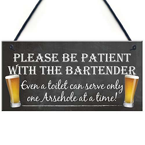 RED OCEAN Patient Bartender Funny Pub Landlord Alcohol Gift Hanging Plaque...