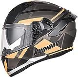 CYSGY Full Face Motorcycle Modular Helmet Adult Motorbike Street Bike Helmet Double Lens Detachable Inner Liner Anti-Fog Helmet for Women Men DOT/ECE Certification(Size:Medium,Color:H)