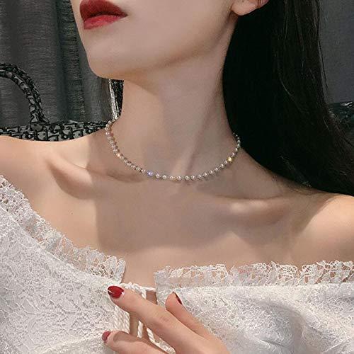 TseenYi - Collana girocollo con perle e perline