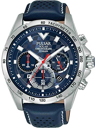 PULSAR Herren Analog Quarz Uhr mit Echtes Leder Armband PZ5107X1