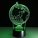 hqhqhq Nueva ilusión 3D Creativa lámpara de Noche Decorativa Globo terráqueo Ambiente de Bricolaje Bombillas led USB luz de Noche de Vacaciones con 16 Colores Change con Mando a Distancia -1314