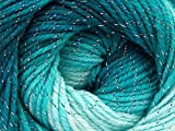 (1) 100 Gram Magic Glitz Teal, Turquoise with Silver Metallic Accent, Self-Striping Acrylic DK Weight Yarn