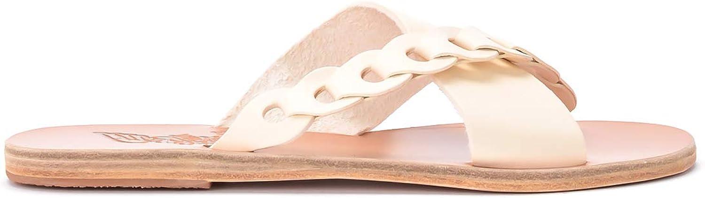 ANCIENT GREEK SANDALS Woman's Thais Links Ivory Leather Vowen Sandal.