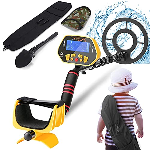 Metal Detector for Adults& Kids, High Accuracy Adjustable Waterproof Metal Detector with LCD Display, All Metal &Discrimination &Pinpoint Mode, 8.7 Inch Lightweight Search Coil