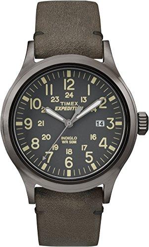 Timex Expedition - Reloj análogico para Hombre de cuarzo con correa de cuero, Marrón (Marrón/Gris)