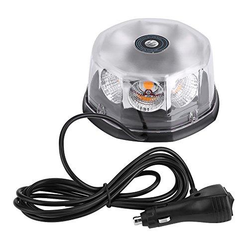 KIMISS 8 LED 40W 12-24V Magnética Flashing luces de advertencia estroboscópico Luz del techo del coche montado que destella la luz de emergencia(Ámbar)