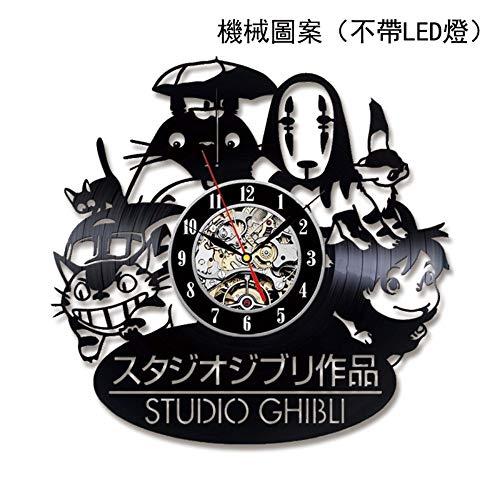 Mijn Buurman Totoro Vinyl Record Wandklok Cartoon Moderne Decoratieve LED Wandklok Mute Woonkamer Wandklok Huisdecoratie