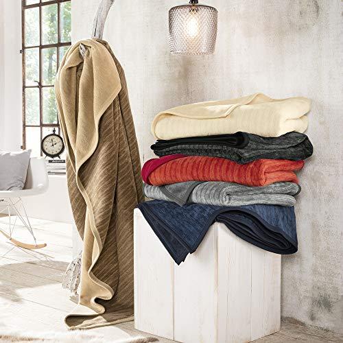 Ibena Fano Sesselschoner 050x200 cm – Sesselschutz rot orange, toller Sessel Schoner aus hochwertiger Baumwollmischung, kuschelweich und pflegeleicht