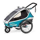 Qeridoo Kidgoo2 (2020/2021) Kinderfahrradanhänger, Fahrradanhänger 2 Kinder - Petrol
