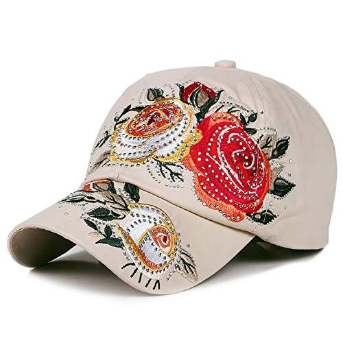 No-branded HOUJHUS Gorra de béisbol for Mujeres Flor de Bordado de algodón Ajustable 6 Paneles en Forma de Pico Gorra Floral Rhinestone Sombrero for el Sol (Color : 3, Size : Free Size)