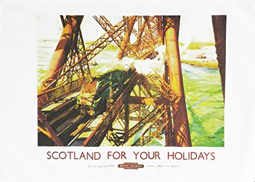 Half a Donkey Scotland for your holidays - Retro Style Travel Poster Large Cotton Tea Towel