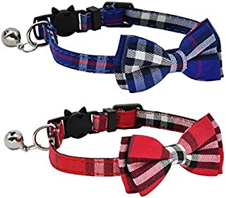 CHUKCHI 2 Pack/Set Cat Collar Breakaway with Cute Bow Tie and Bell for Kitty and Some Puppies, Adjustable from 7.8-10.5 Inch (Red+Blue)