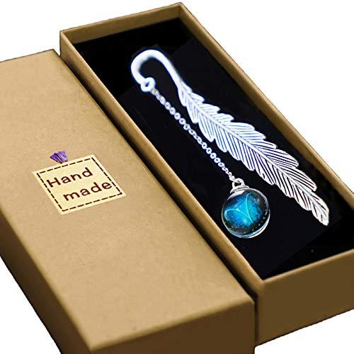 Konrisa - Marcadores para mujer y hombre, diseño de plumas de metal con luz constelación libro para amantes del lector de regalos para niñas y niños (Aries)