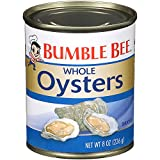 BUMBLE BEE Premium Select Whole Oysters and 8 Ounce Can (Pack of 12) and High Protein Food and Keto Food and Snacks and Gluten Free Food and High Protein Snacks, Canned Food